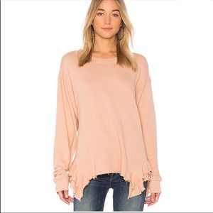 "Current/Elliott Pink ""Slouchy Ruffle"" Sweatshirt"
